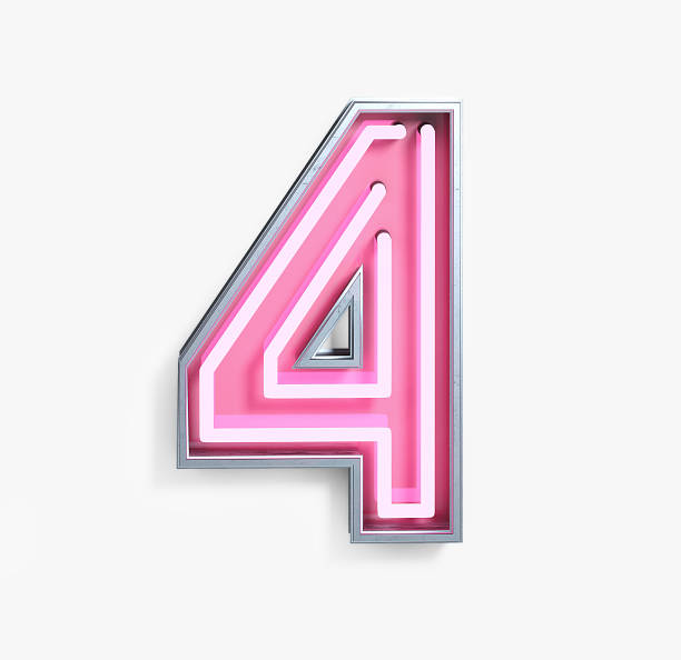 Bright Neon Font. Number 4 Bright Neon Font with fluorescent pink tubes. Number 4. Night Show Alphabet. 3d Rendering Isolated on White Background. number 4 stock pictures, royalty-free photos & images