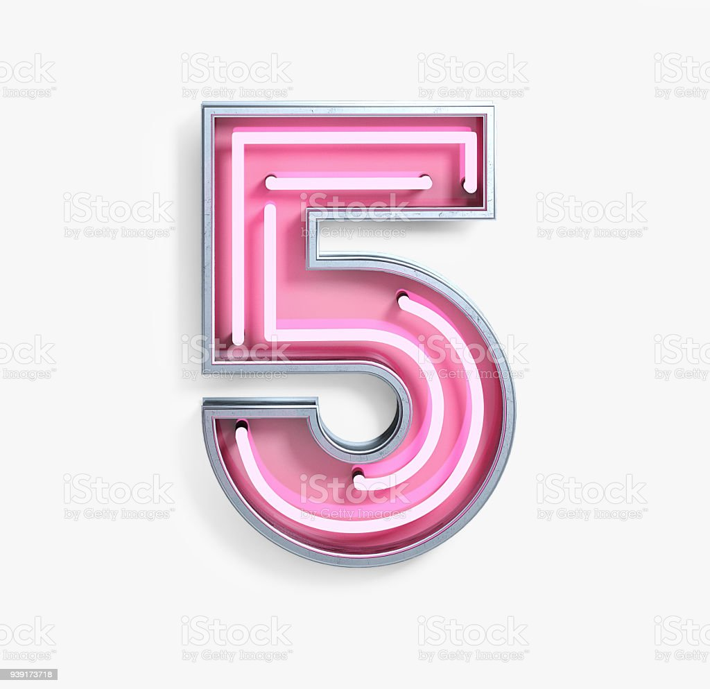 Bright Neon Font. Number 5 stock photo