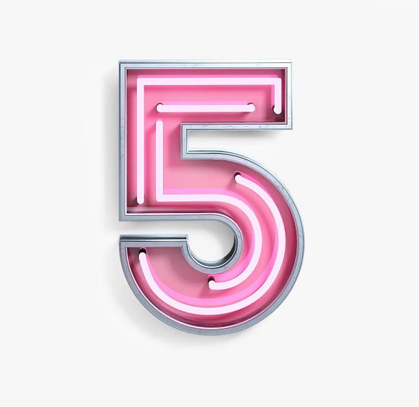 bright neon font. number 5 - numero 5 foto e immagini stock