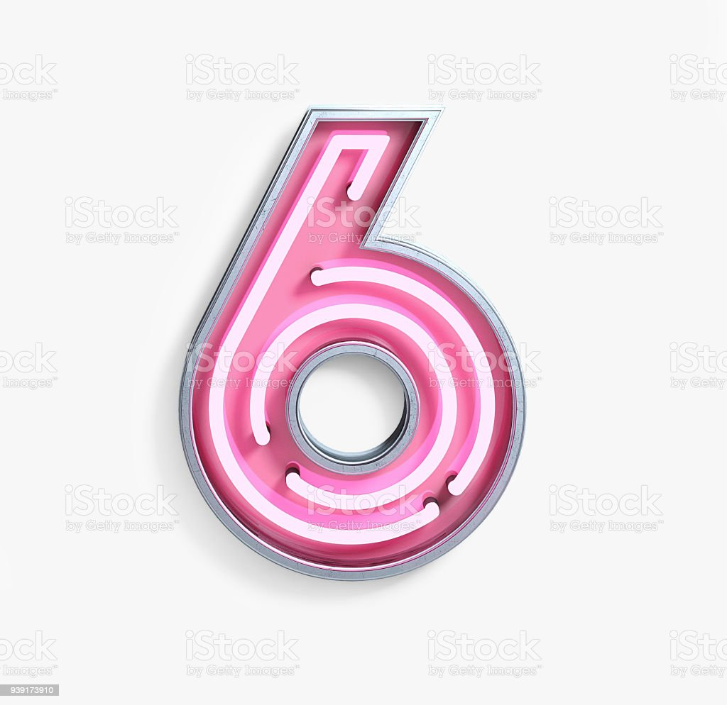 Bright Neon Font. Number 6 stock photo