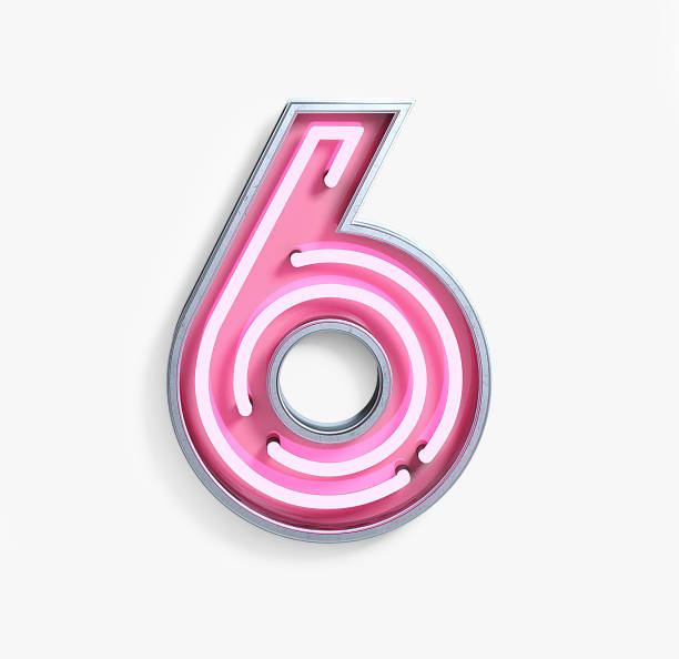 bright neon font. number 6 - number 6 stock photos and pictures