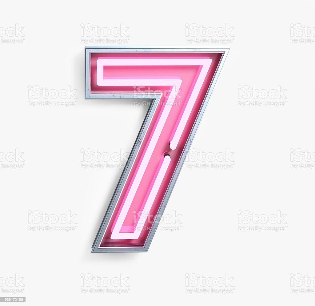 Bright Neon Font. Number 7 stock photo