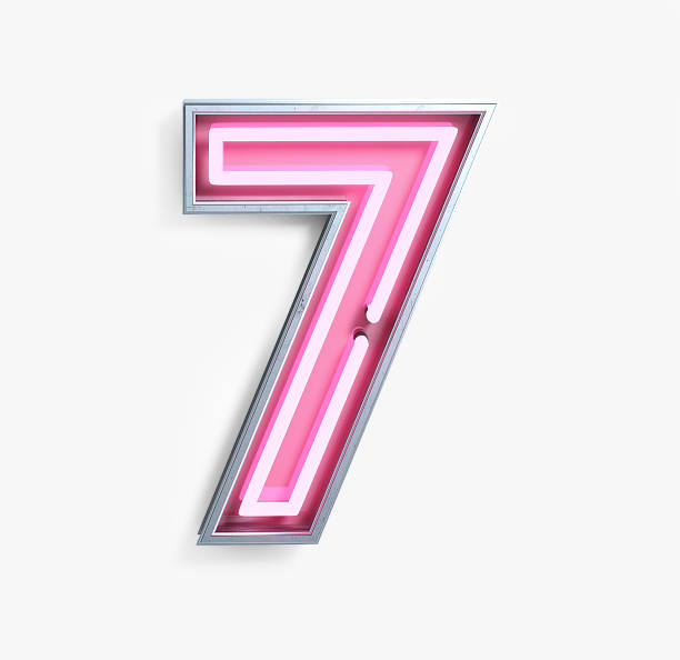 Bright Neon Font. Number 7 Bright Neon Font with fluorescent pink tubes. Number 7. Night Show Alphabet. 3d Rendering Isolated on White Background. number 7 stock pictures, royalty-free photos & images