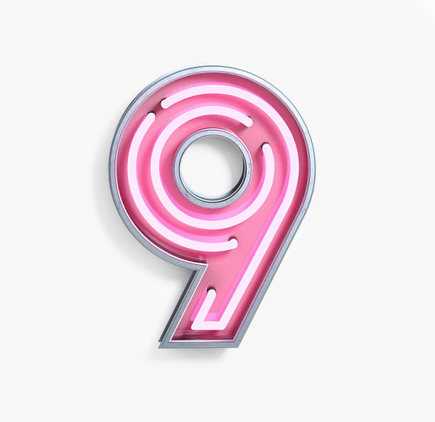 Bright Neon Font. Number 9 stock photo