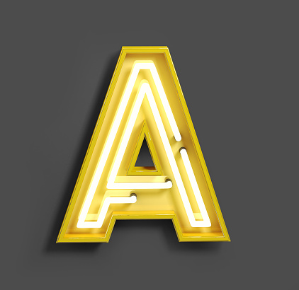 istock Bright Neon Font with fluorescent yellow tubes. Letter A. 1040900922