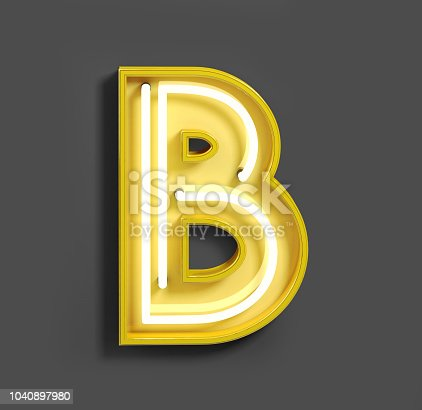 804846868 istock photo Bright Neon Font with fluorescent yellow tubes. Letter B. 1040897980