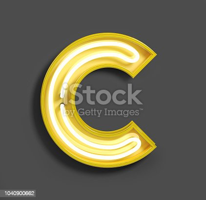 istock Bright Neon Font with fluorescent yellow tubes. Letter C. 1040900662