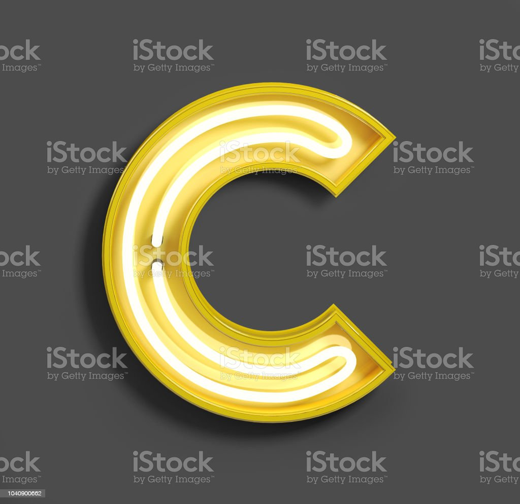 Bright Neon Font with fluorescent yellow tubes. Letter C. stock photo