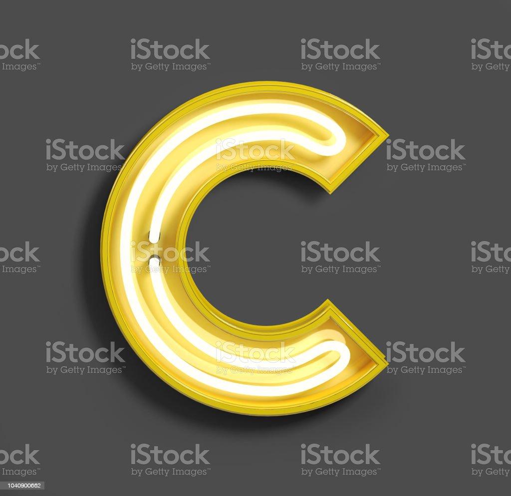 Fuente de neón brillante con amarillo fluorescentes. Letra C. - foto de stock