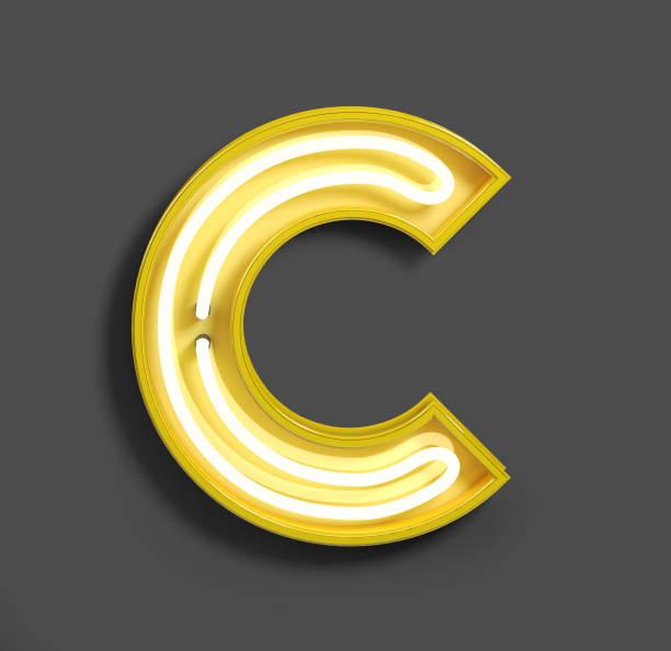fonte de néon brilhante com lâmpadas fluorescentes amarelas. letra c. - c - fotografias e filmes do acervo