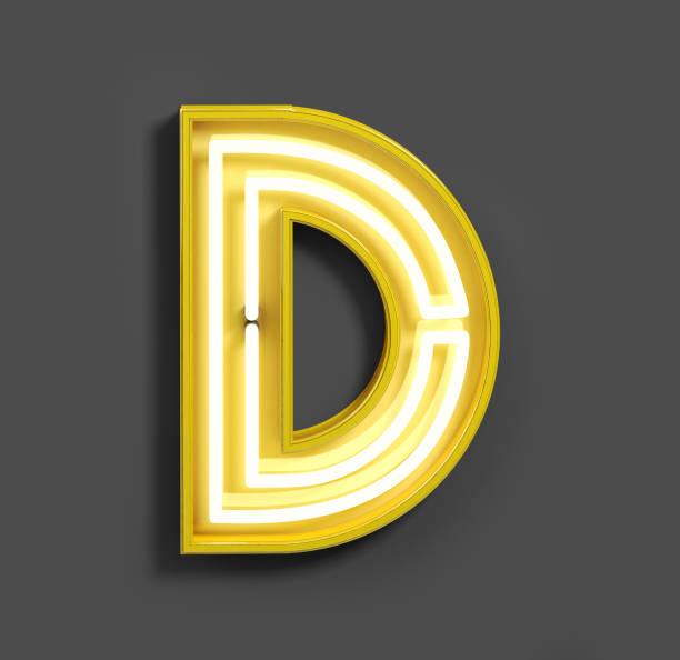 hellen neon-schrift mit gelben leuchtstoffröhren. buchstabe d. - fluoreszierend stock-fotos und bilder