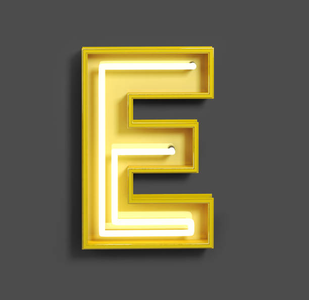 Bright Neon Font with fluorescent yellow tubes. Letter E. Bright Neon Font with fluorescent yellow tubes. Letter E. Night Show Alphabet. 3d Rendering Isolated on Dark Background. letter e stock pictures, royalty-free photos & images