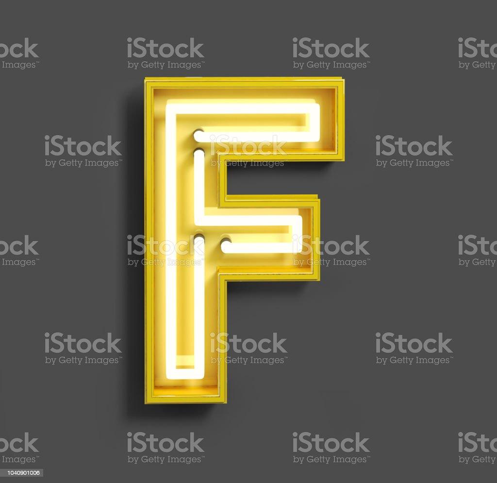 Hellen Neon-Schrift mit gelben Leuchtstoffröhren. Buchstaben f. – Foto