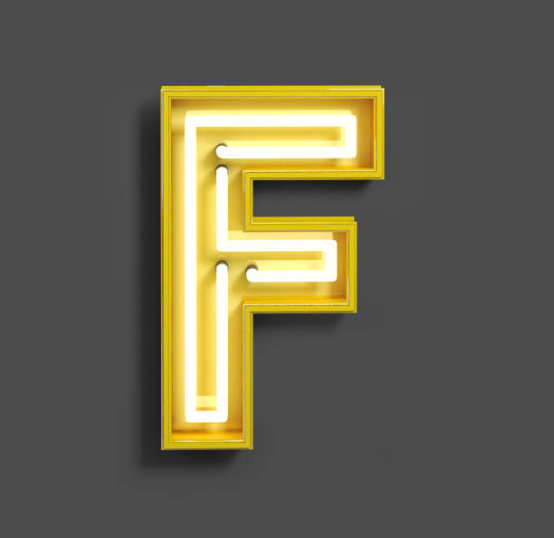 405b3bdd2de16 Bright Neon Font with fluorescent yellow tubes. Letter F. stock photo