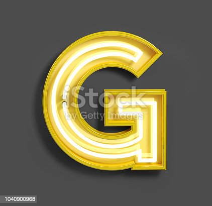 istock Bright Neon Font with fluorescent yellow tubes. Letter G. 1040900968