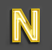 Bright Neon Font with fluorescent yellow tubes. Letter N.