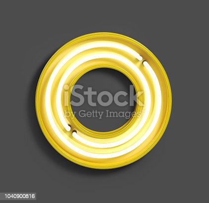 istock Bright Neon Font with fluorescent yellow tubes. Letter O. 1040900816