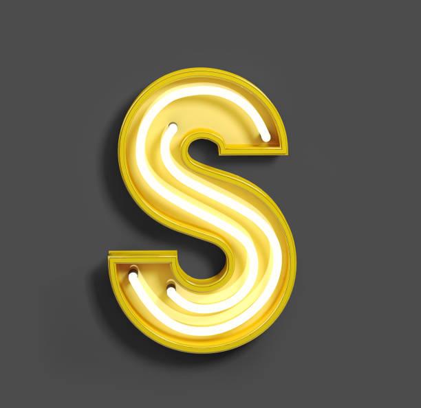felle neon lettertype met fluorescerende gele buizen. letter s. - s stockfoto's en -beelden