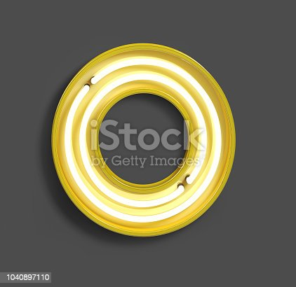 istock Bright Neon Font with fluorescent yellow tubes. Number 0. 1040897110