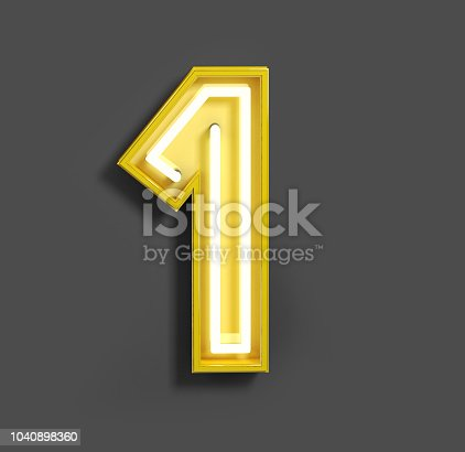 istock Bright Neon Font with fluorescent yellow tubes. Number 1. 1040898360