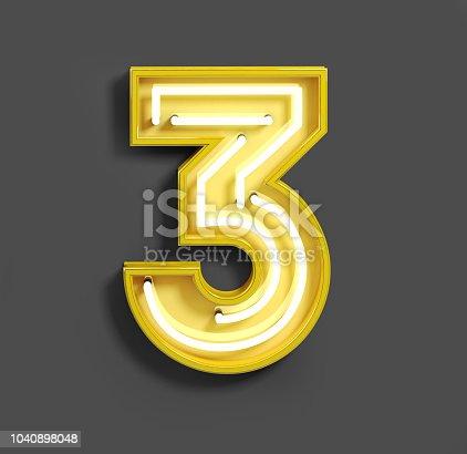Bright Neon Font with fluorescent yellow tubes. Number 3. Night Show Alphabet. 3d Rendering Isolated on Dark Background.