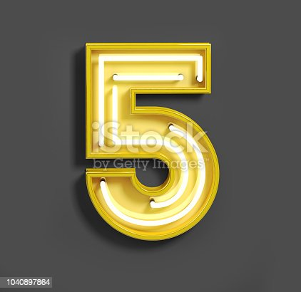 istock Bright Neon Font with fluorescent yellow tubes. Number 5. 1040897864