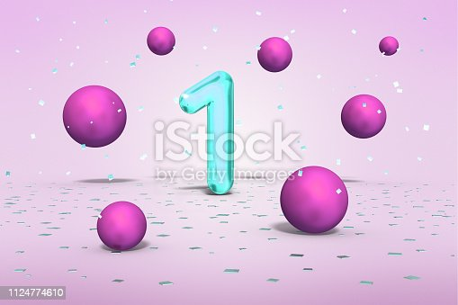 istock Bright neon number 1, flying shiny balls pink colors and gold confetti on light background, one first birthday, 3d rendering 1124774610