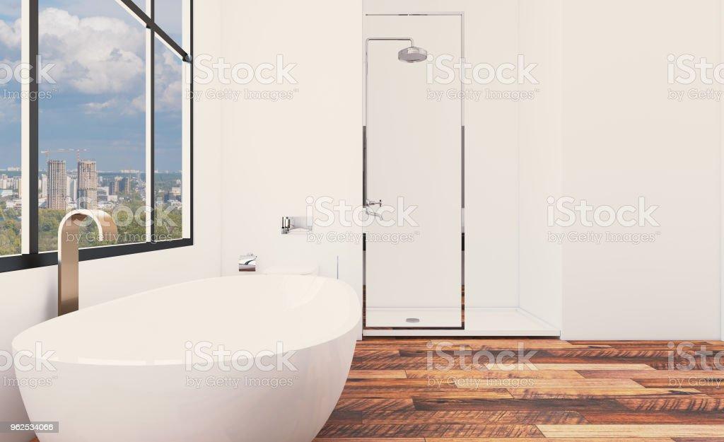 Interior de casa de banho nova brilhante. Renderização 3D. - Foto de stock de Artigo de decoração royalty-free