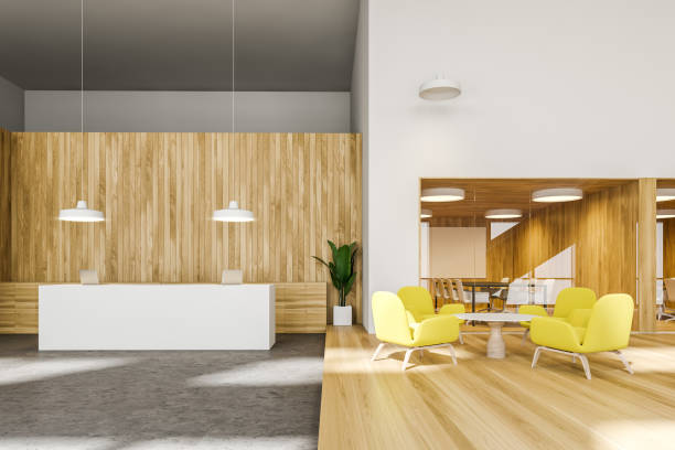Bright office with reception and lounge area