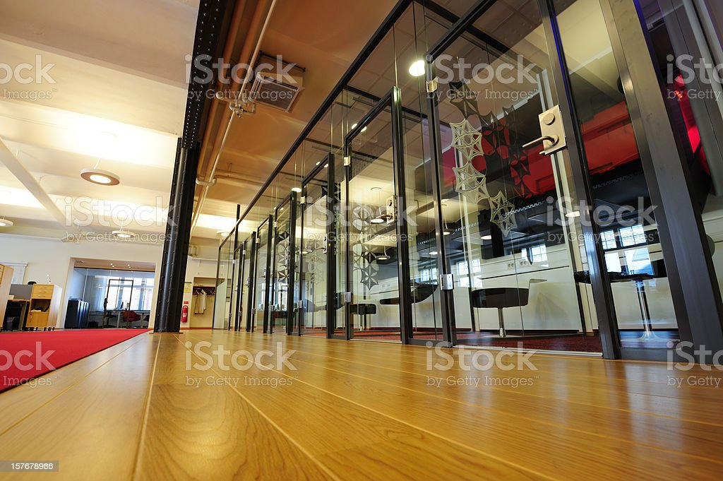 Bright office with wooden floor and carpet royalty-free stock photo