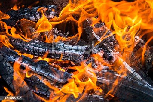 bright orange flame and charred wood