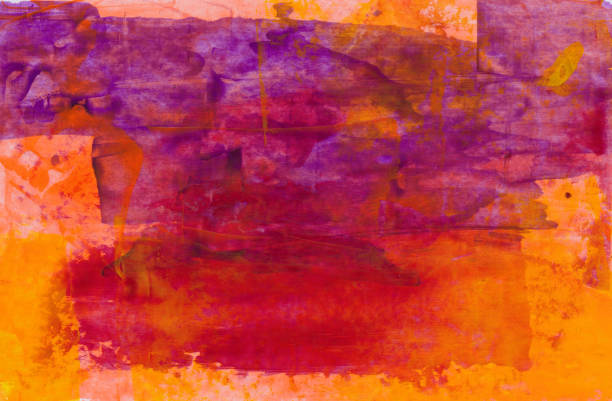 Bright orange red and purple hand painted background