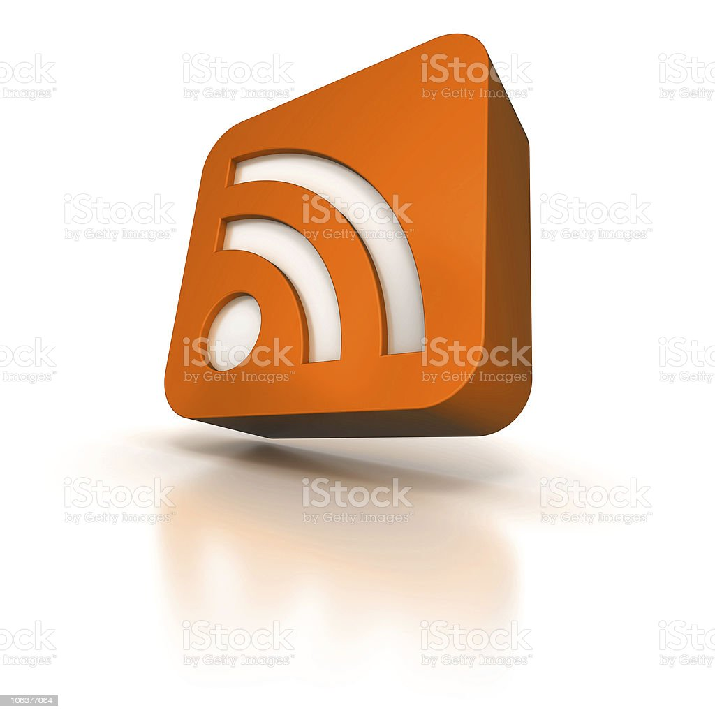 Bright orange RSS icon royalty-free stock photo