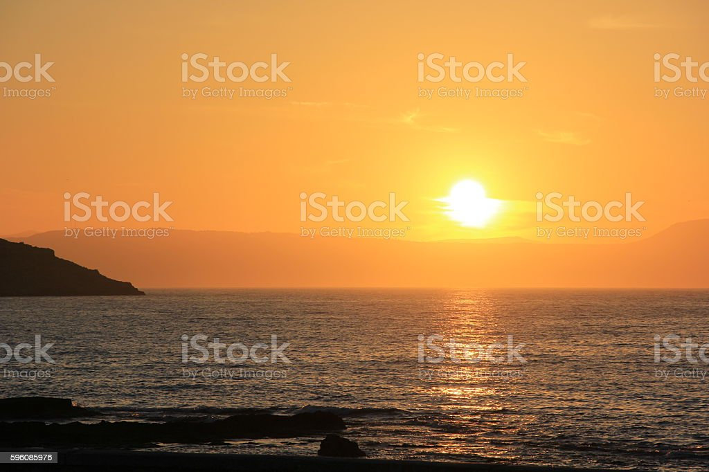 Bright orange sunset in the Mediterranean Sea royalty-free stock photo