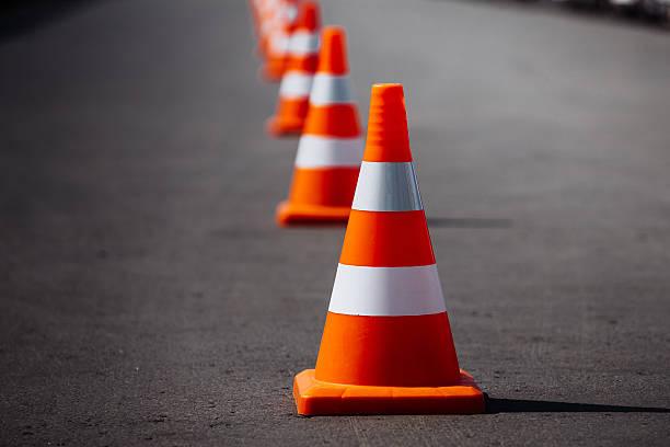 bright orange traffic cones - foto de stock