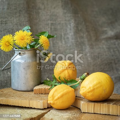 Bright organic lemons, natural vitamin C and an old aluminum can with dandelions on a natural wooden background, spring, vintage