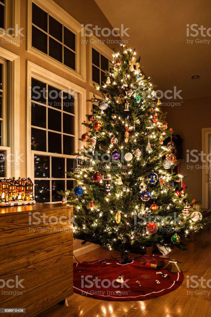 Bright holiday Christmas lights and dozens of family Christmas...