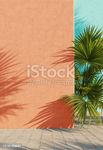 Bright painted orange and turquoise wall with green tropical leaves, sunlight with shadows. Summer, spring background. 3d rendering.