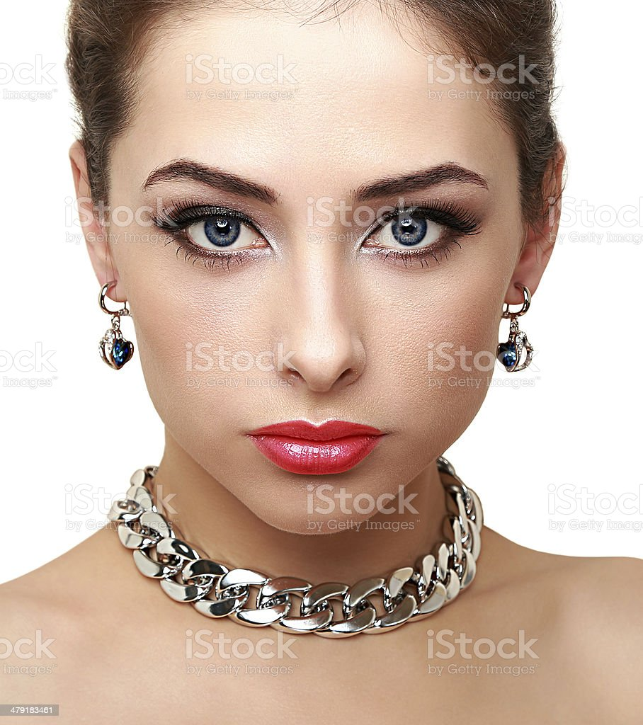 Bright perfect woman makeup. Closeup isolated portrait stock photo