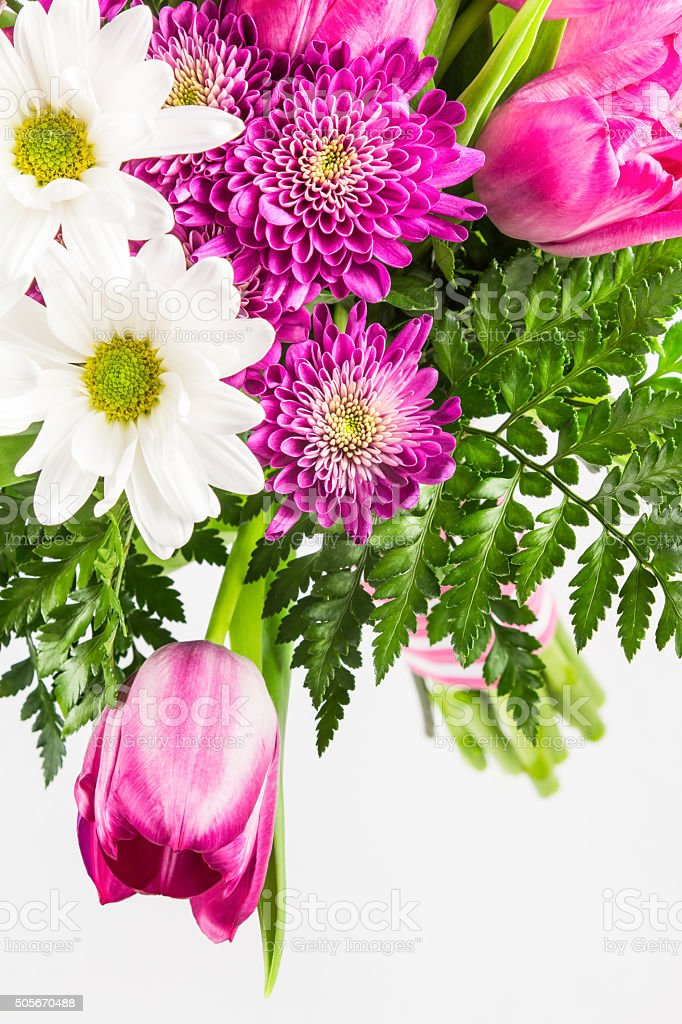 Bright pink and white flower bouquet stock photo