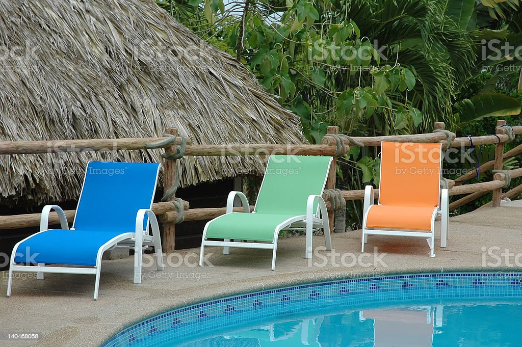 Bright Pool Chairs stock photo