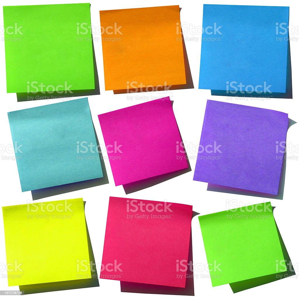 Bright Post-it Notes stock photo