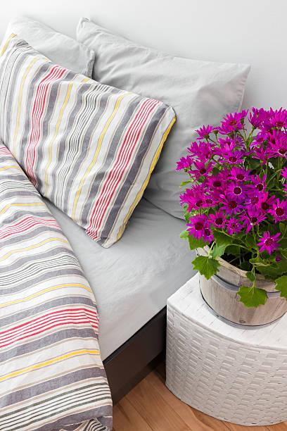 helles lila blumen dekoration einem schlafzimmer - do it yourself hochbett stock-fotos und bilder