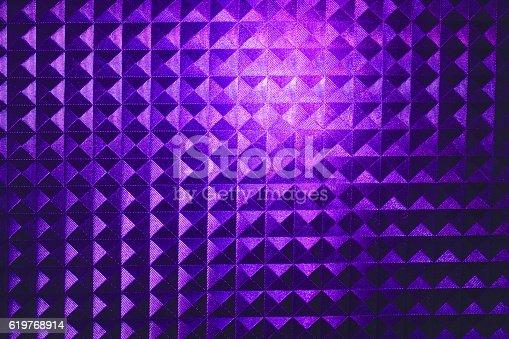 520740170 istock photo bright purple pyramid stripped square pattern neon glow 619768914