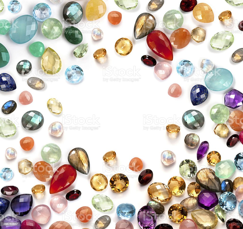 Bright real gems collection on the white background. royalty-free stock photo