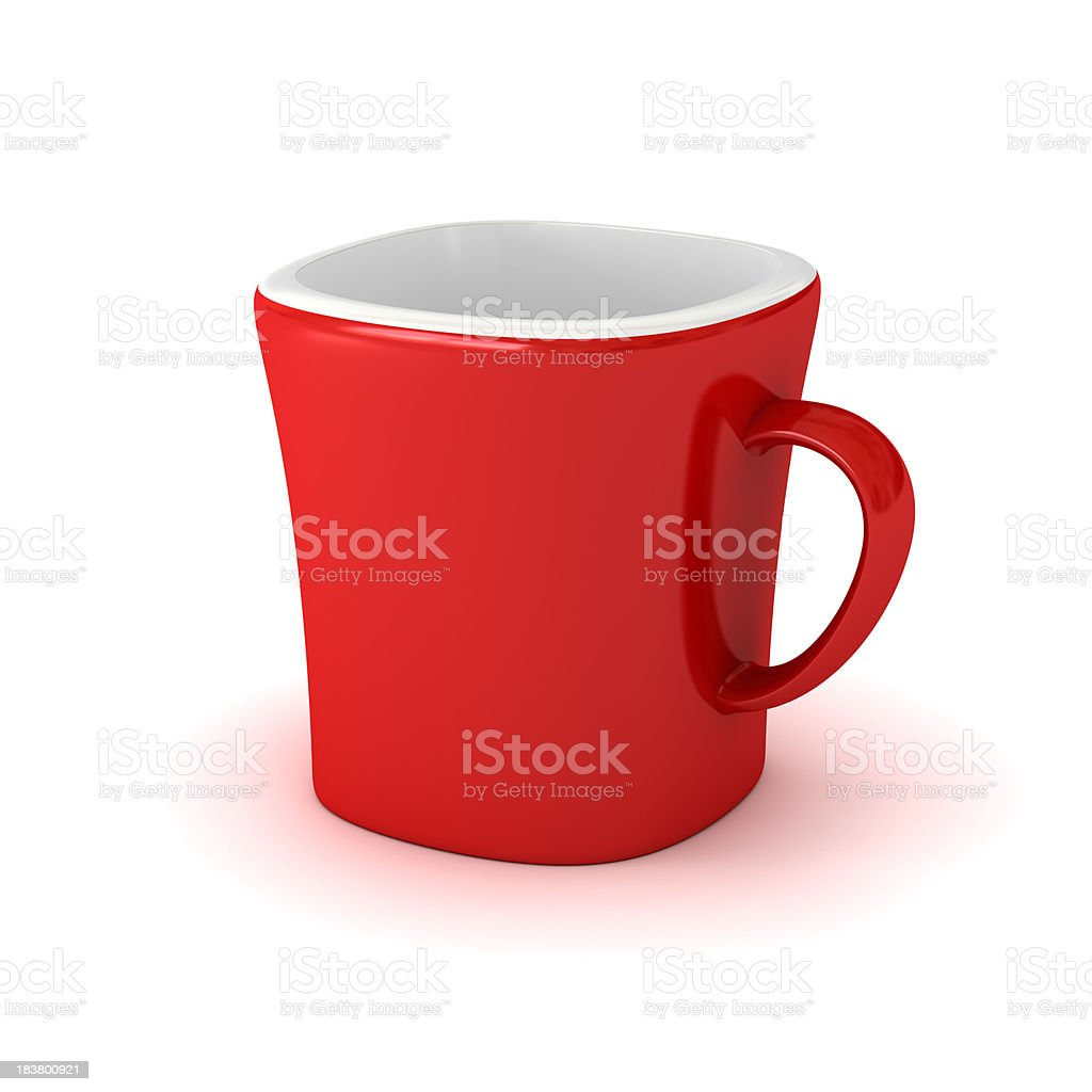 Bright red coffee cup with a white inside royalty-free stock photo
