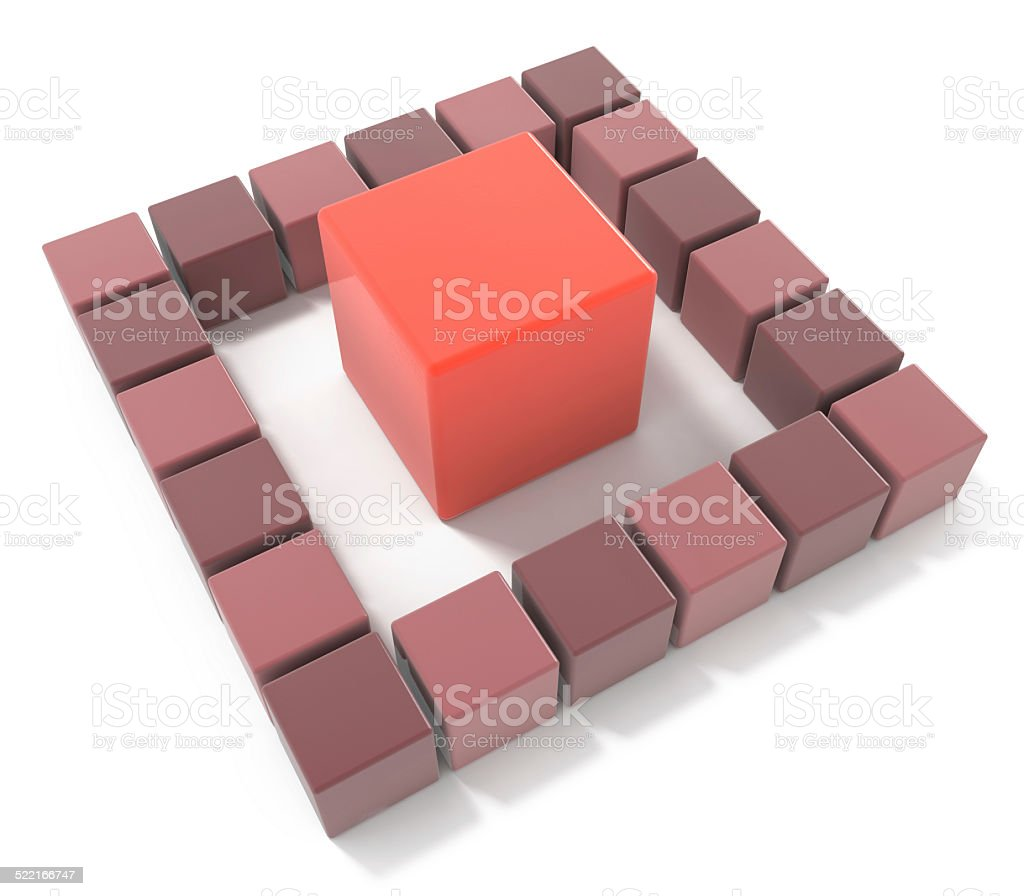 bright red cube leadership concept stock photo