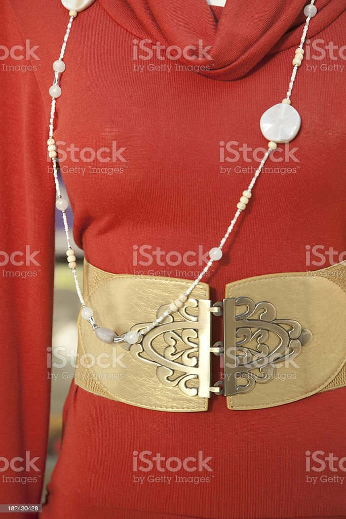 Bright Red Dress With Large Gold Belt, Fashion royalty-free stock photo