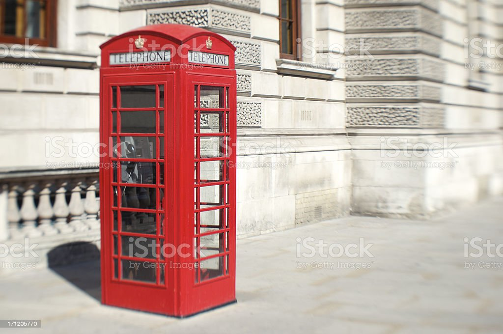 Bright Red English Telephone Booth London Street stock photo