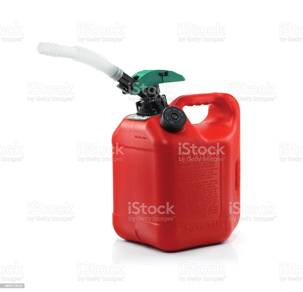 Bright Red Gasoline Can stock photo